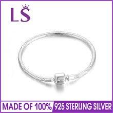 Lsluxury 100% 925 серебро цепи очарование бисером Fit оригинальный браслет для женщин подлинным ювелирные изделия Pulseira подарок