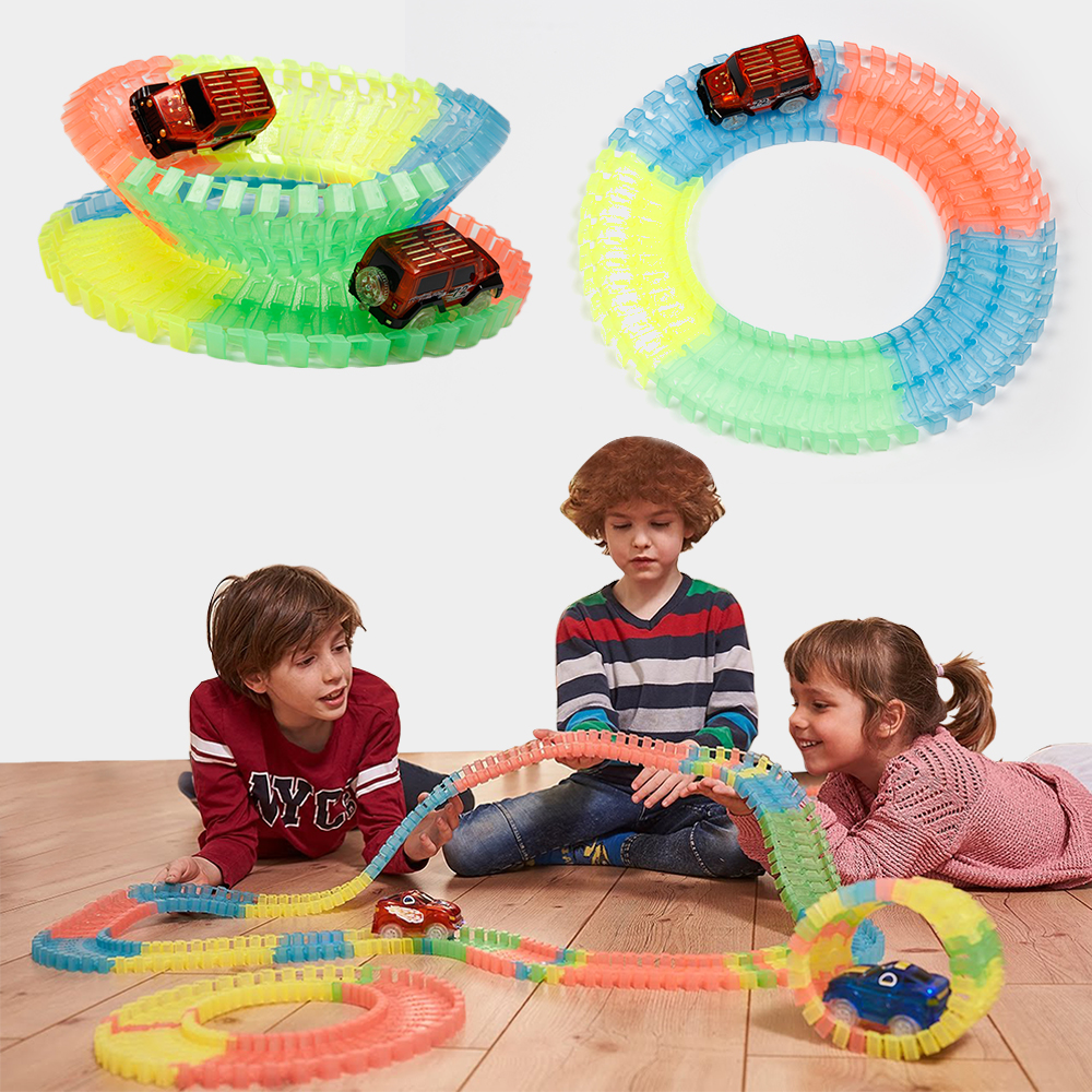 Baby Toy Cars Railway Magical Racing Track Play Set 150/165/220/240Pcs Baby DIY Bend Flexible Race Track Car LED Toys For Kids