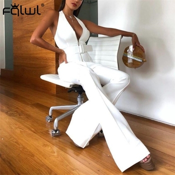FQLWL Halter Wide Leg Sexy Bodycon Summer Jumpsuit Women Overalls Sashes Backless White Skinny Rompers Womens Jumpsuit Female 3