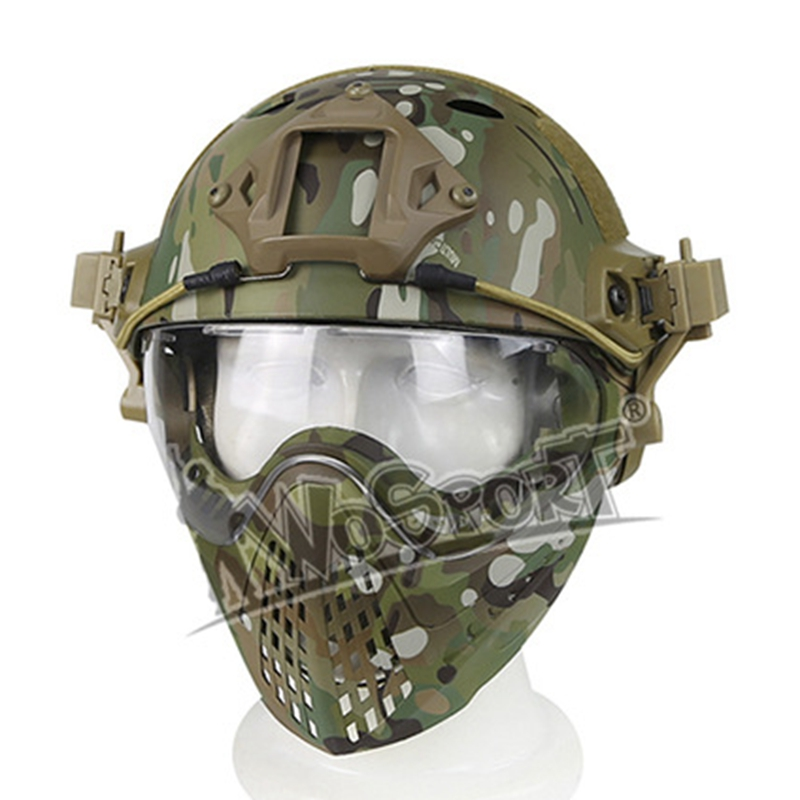 Outdoor Sports Safety Military Tactical Helmet Full-covered Airsoft Paintball Helmet with Mask Goggles Protective Helmet tactical protective helmet outdoor airsoft cs game paintball head protector fast ops core helmet safety helmet