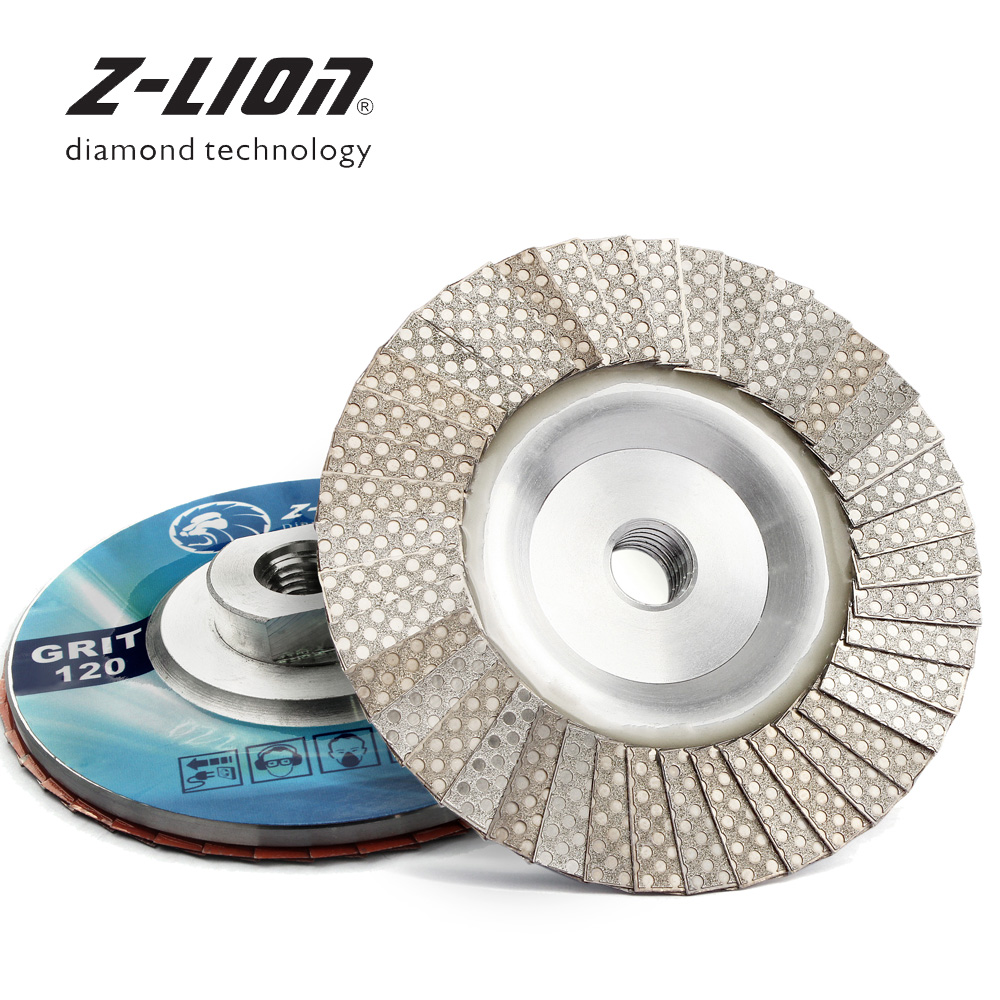Z-LION Diamond Electroplated Flap Disc Metal Bonded Diamond Flaps Aluminum M14 5/8-11 Thread For Angle Grinder Dry Wet Use