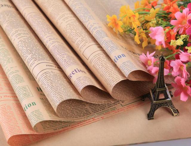 Selens 52*75CM בציר אנגלית עיתון פרה גלישת נייר רקע נייר טפט חבילה נייר עטיפת נייר