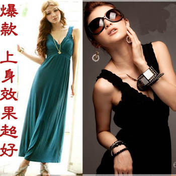 V-neck solid color ultra long paragraph one-piece dress bohemia skirt