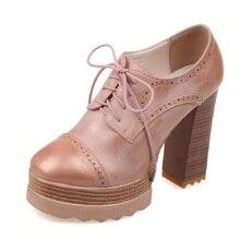 แฟชั่นย้อนยุคผู้หญิงแพลตฟอร์มปั๊มใหม่ลูกไม้ขึ้นรองเท้าปากลึกก้อนสูงส้นหญิงวิทยาลัยO Xfordsข้อเท้าบู๊ทส์สหรัฐ10.5
