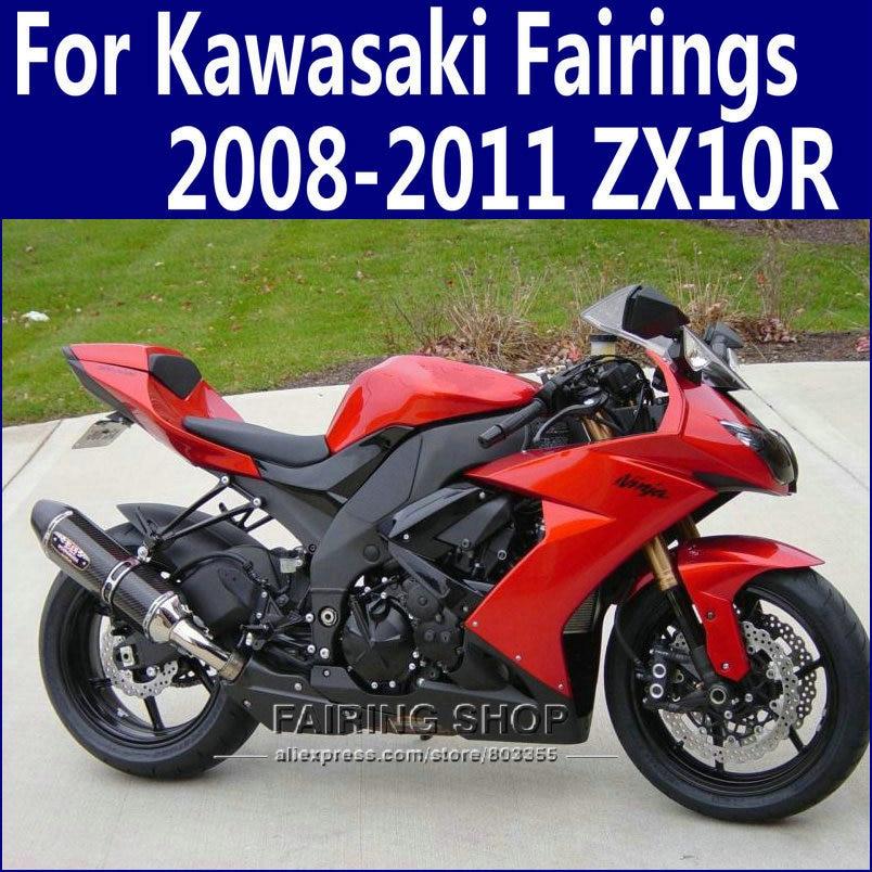 zx10r 2008 2009 Red&black Fairings For Kawasaki Ninja 2010 2011 08-11 Fairing kit Design free n32