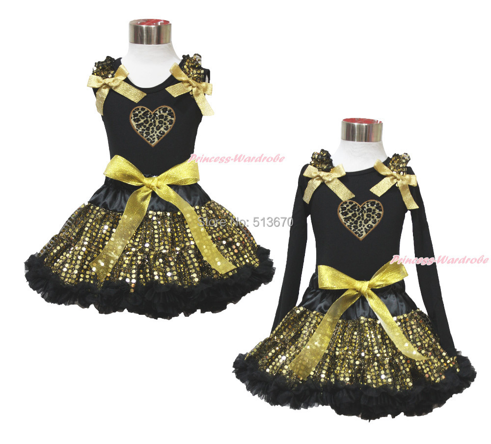 Easter Valentine Leopard Heart Black Top Sparkle Bling Gold Sequins Skirt 1-8Y MAPSA0485 цена и фото