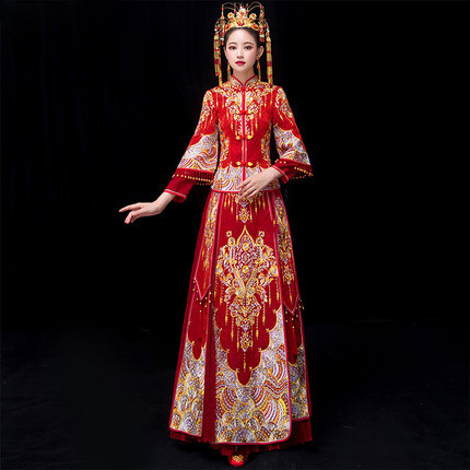 Plus Size 5XL 6XL Bride Traditions Red Women Phoenix Embroidery Cheongsam Long Qipao Wedding Dresses Traditional Chinese Dress