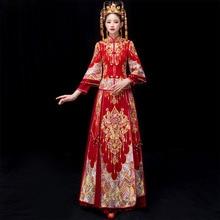 37411f5fe42 Plus Size 5XL 6XL Bride Traditions Red Women Phoenix Embroidery Cheongsam  Long Qipao Wedding Dresses Traditional
