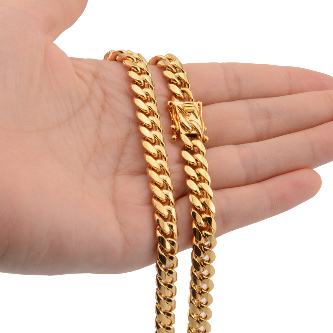 Top Quality 8mm Wide Gold Color For Men 39 s Necklace Or Bracelet 7 40 inch Stainless Steel Miami Curb Link Chain Jewelry in Chain Necklaces from Jewelry amp Accessories