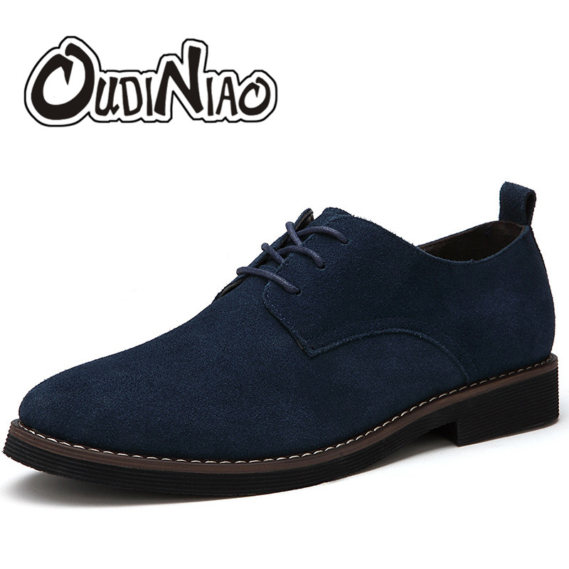 OUDINIAO Faux Suede Mens Shoes Casual Large Sizes Fashion 2018 British Shoes Men Casual Classic Lace