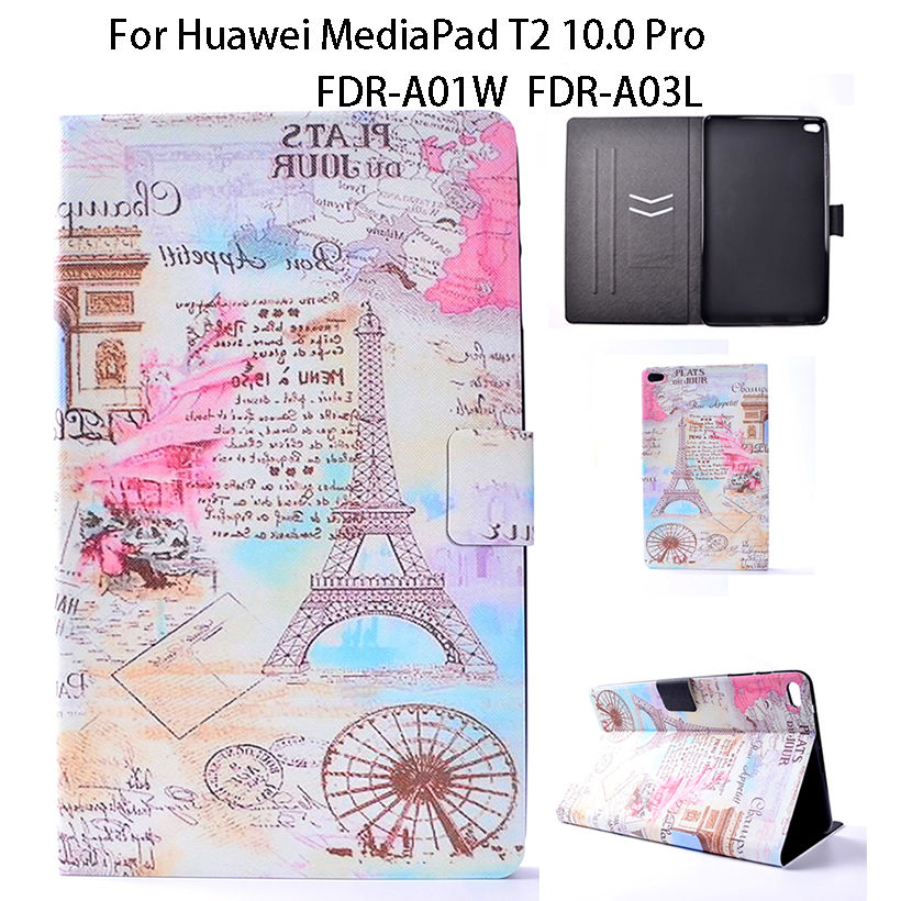 Ultra Slim Print PU Leather Case For Huawei Mediapad T2 10.0 Pro Tablet FDR-A01W FDR-A03L Cover Cases Tablet Funda Stand Shell