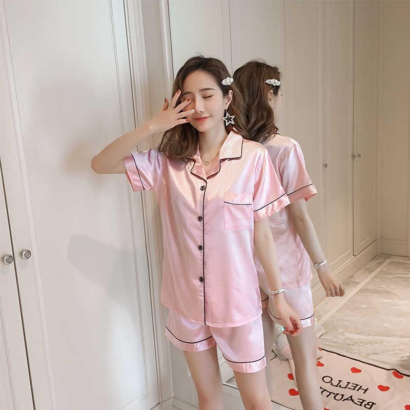 Giả Lụa Phụ Nữ đồ ngủ set 2019 phụ nữ Mùa Hè cô gái ngủ ngắn tay Giản Dị Đồ Lót femme nhà quần áo quà tặng