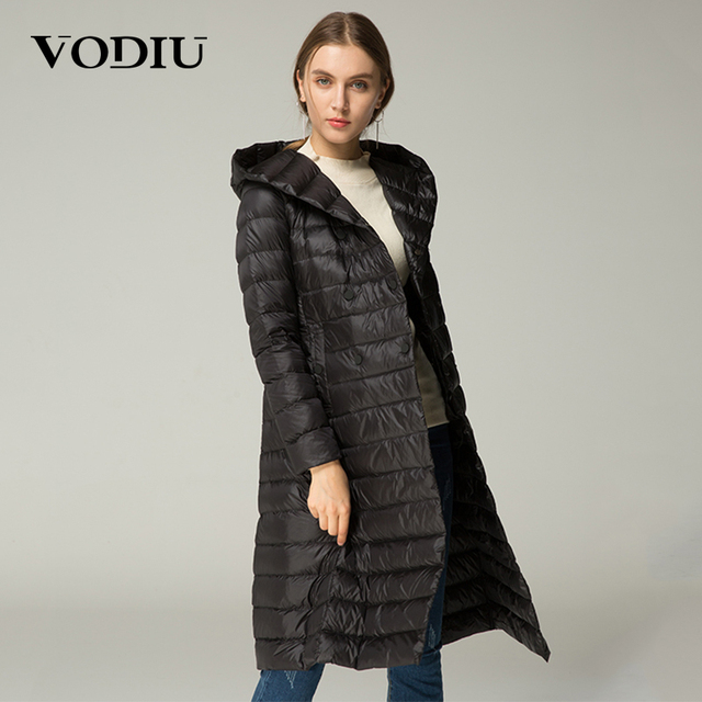 Vodiu Women Down Coat Thin Feather Parka Winter Long Down Jackets ...