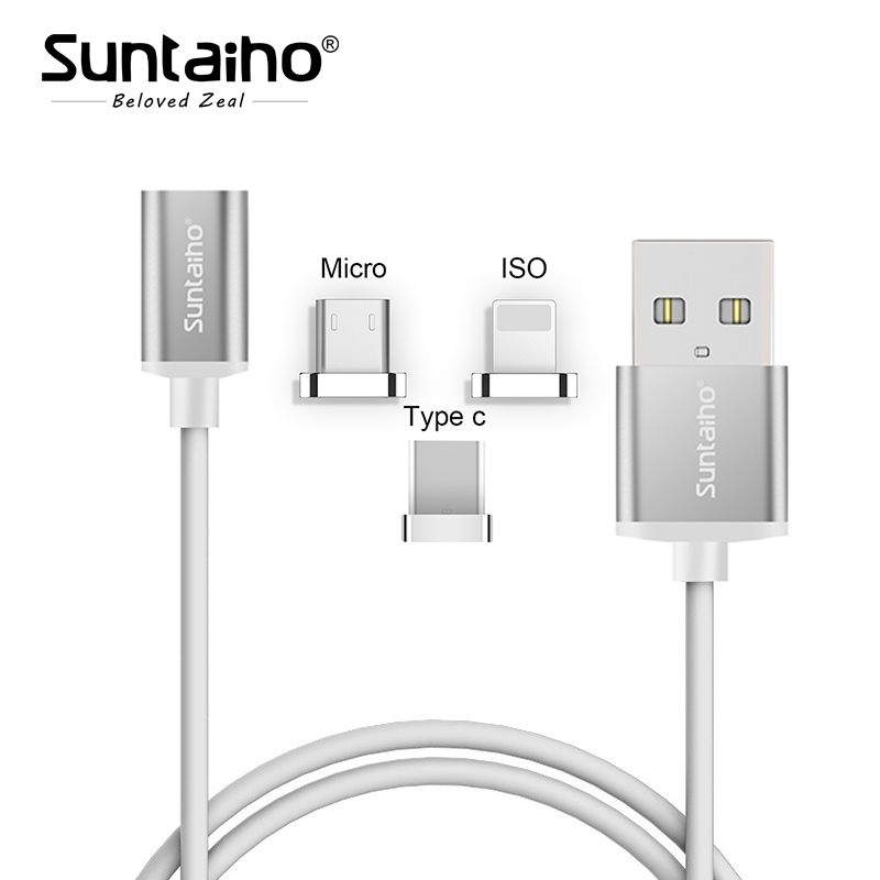 Suntaiho 2 in1 Magnetic cable Fast Charger For iPhone 8 7 Plus Type C/Micro USB/ISO Magnetic adapter S8 p for redmi 4X 4A Note4