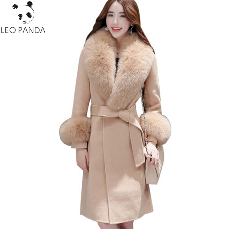 New High-quality Winter Women Woolen Jacket Slim Belt Long Warm Coat Female Fur Collar Plus Size Outerwear Fashion Ladies Parka 2017 new winter jacket women coat plus size female slim parka collar outerwear basic down top casual long jackets