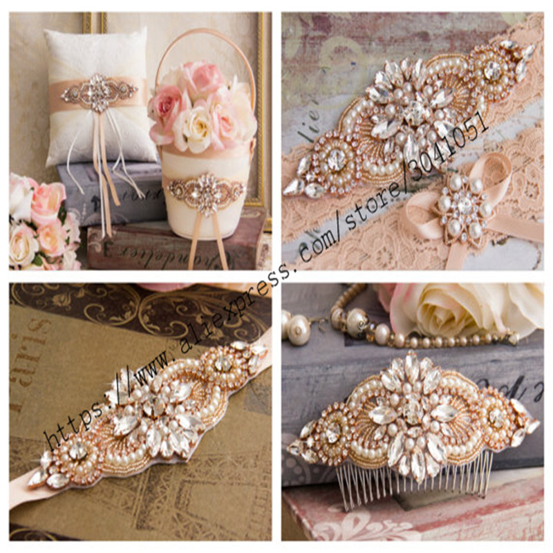 YANSTAR 1 STKS Rhinestone Applicaties Voor Bruiloft Riem Rose Goud Kristal Kralen Naaien Strass Applicaties Bruids Accessoires