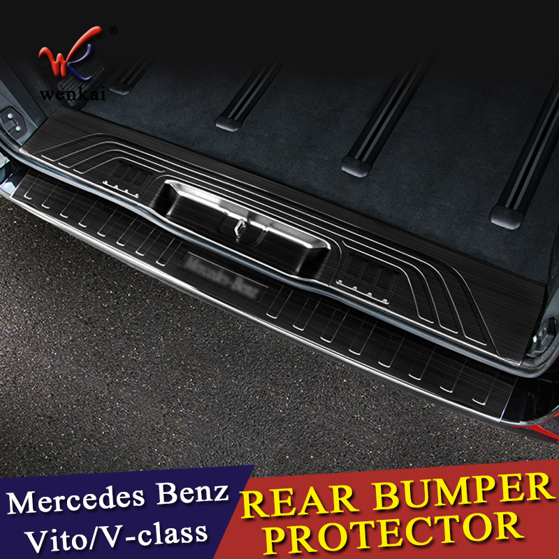 Rear Bumper Protector Threshold Plate Cover Sill Trim For Mercedes Benz Metris Valente Vito Viano V-Class W447 2016 2017 2018 4pcs front rear mud splash flaps guard fender for benz v class vito metris viano w447 2015 2016 with running board