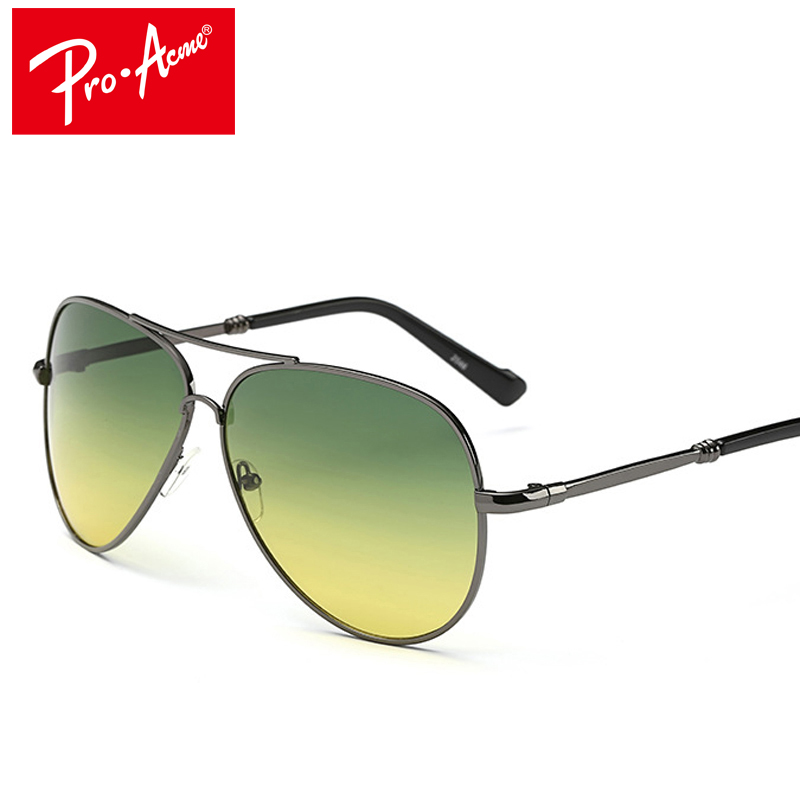 Pro Acme Day Night Vision Goggles Aviation Sunglasses for Men's Car Driving Glasses Anti-glare Alloy Frame Driver Glasses CC0808
