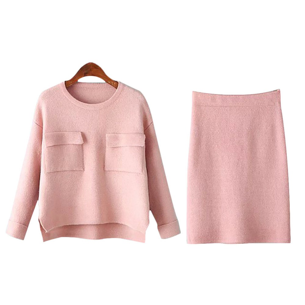 2017 Two Piece set women autumn spring suit elegant slim pink O ...