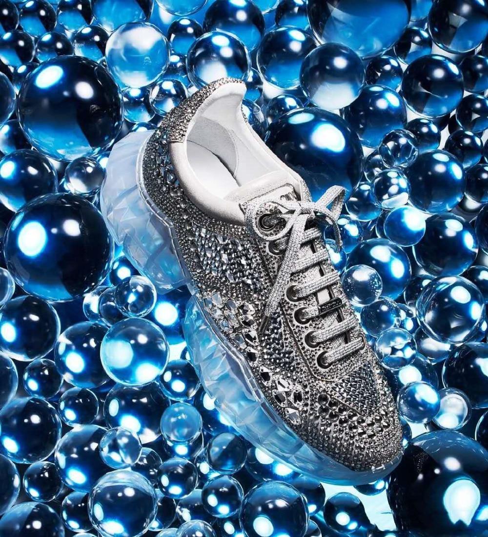 Baskets Ins Décontractées Compensées Plates Chaude Sneakers Chaussures 2019 Diamant Espadrilles argent Femme À Transparent blanc Cristal Basses Piste Semelles Orange PwqEwvF