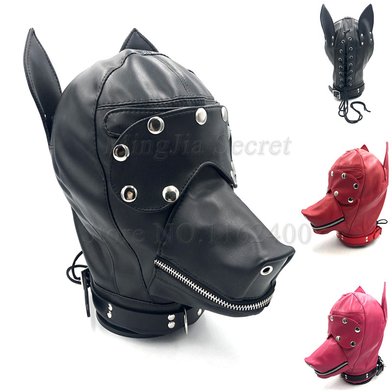 PU Leather Dog Headgear Open Mouth Blindfold Mask Hood Fetish Slave Bondage Restraints Adult Games Cosplay Sex Toys for Couples