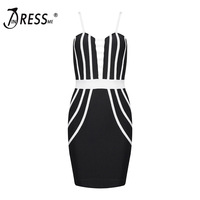 INDRESSME Sexy Spaghetti Strap Fashion Deep V Mini Hollow Out Summer Women Lady Bandage Party Dress