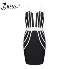 INDRESSME Sexy Spaghetti Strap Fashion Deep V Mini Hollow Out Summer Women Lady Bandage Party Dress Vestidos 2017 New Arrival