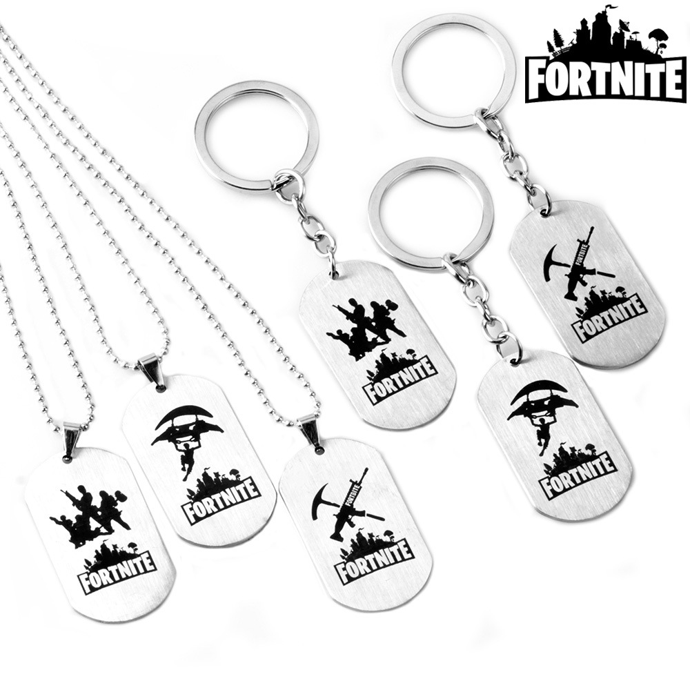 PS4 Game Fortnite Long Necklace Stainless Steel Pendant Dog Tag Figure Double Side Medal Men Woman Jewelry Keychain Keyring