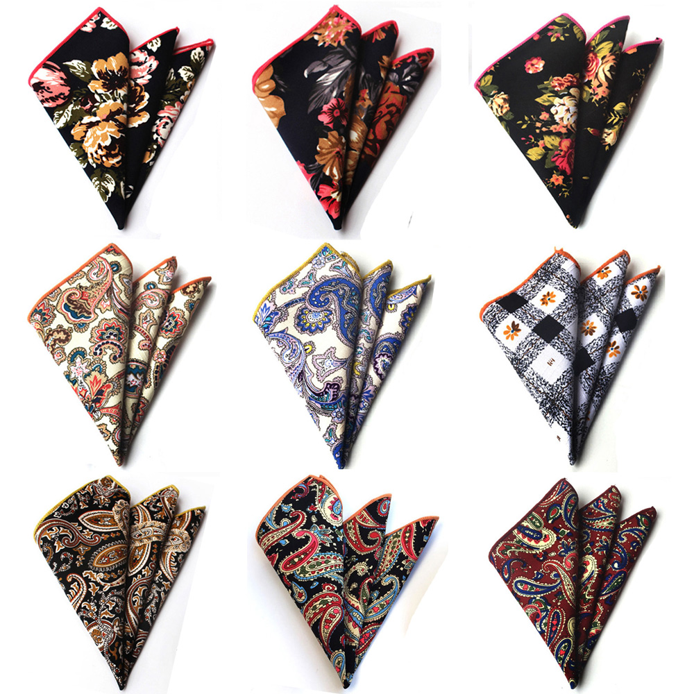 Men Cotton Paisley Flowers Hanky Pocket Square Wedding Party Handkerchiefs BWTHZ0221