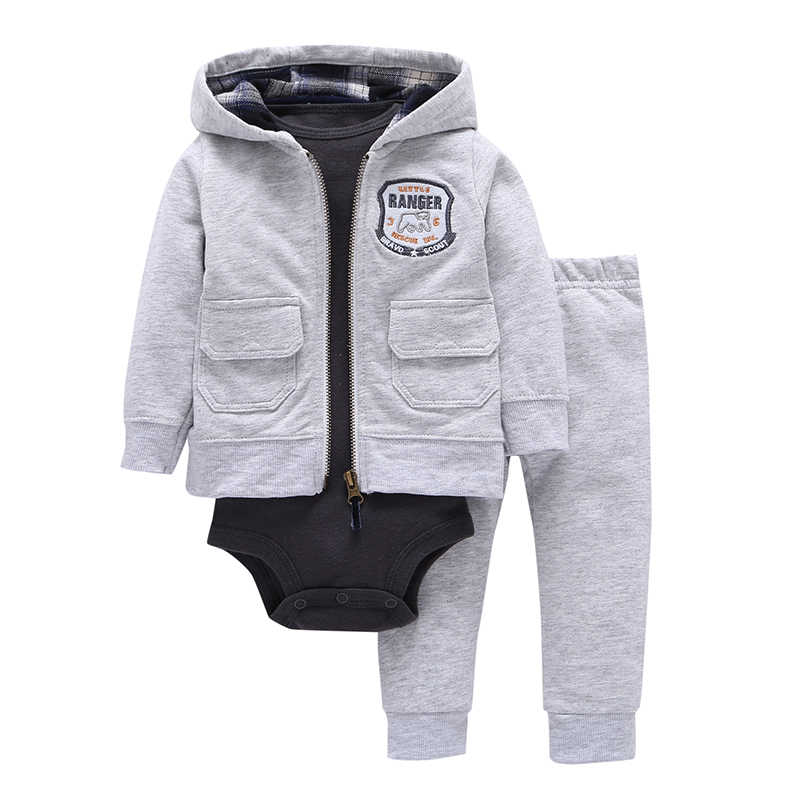 eb295016a Autumn and winter kids baby boy clothes coat+bodysuit+pant 3 pcs baby girl