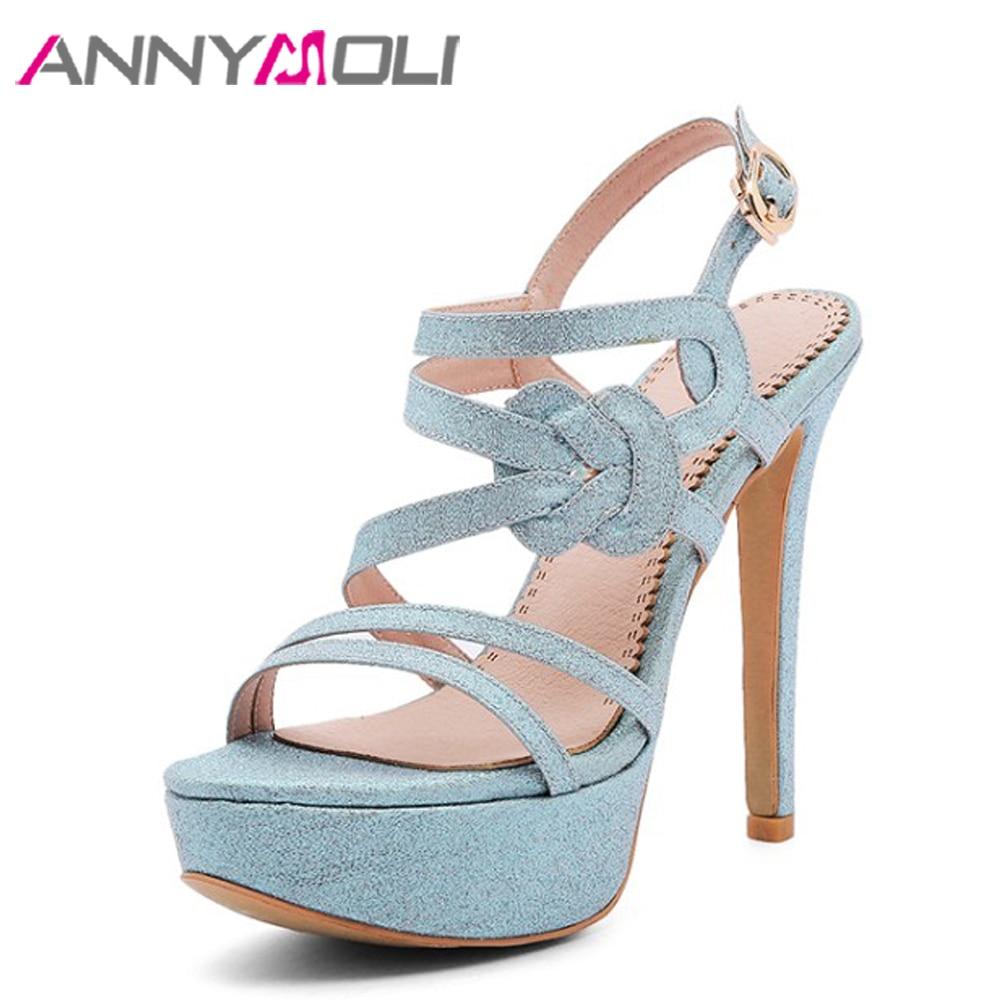 ANNYMOLI naiste sandaalid platvorm äärmuslikud kõrged kontsad kingad 2018 suvel avatud varba lady sandaalid suur suurus 33-43 strippar kingad