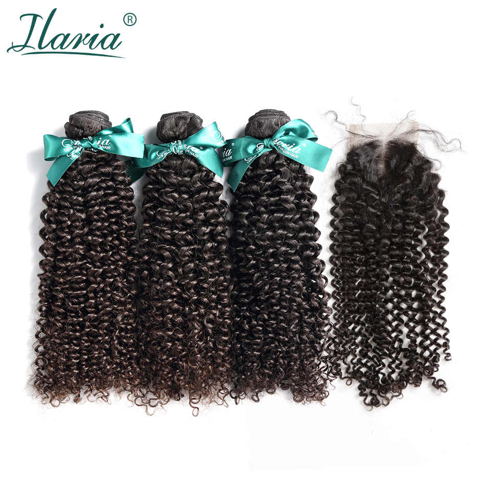 ILARIA HAIR Human Hair Bundles With Closure 100% Unprocessed Brazilian Kinky Curly Virgin Hair Weave 3 Bundles With Lace Closure