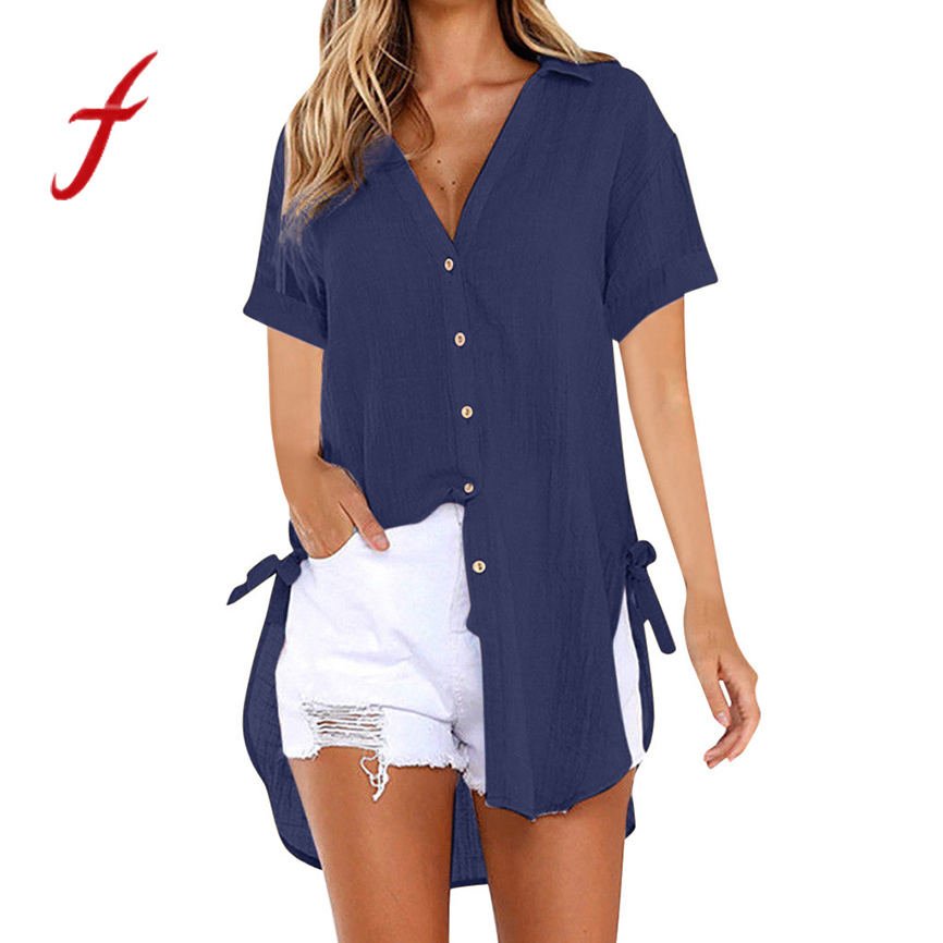 Summer t shirt women's short sleeve solid color cotton cardigan top left and right knotted casual button short sleeve long shirt