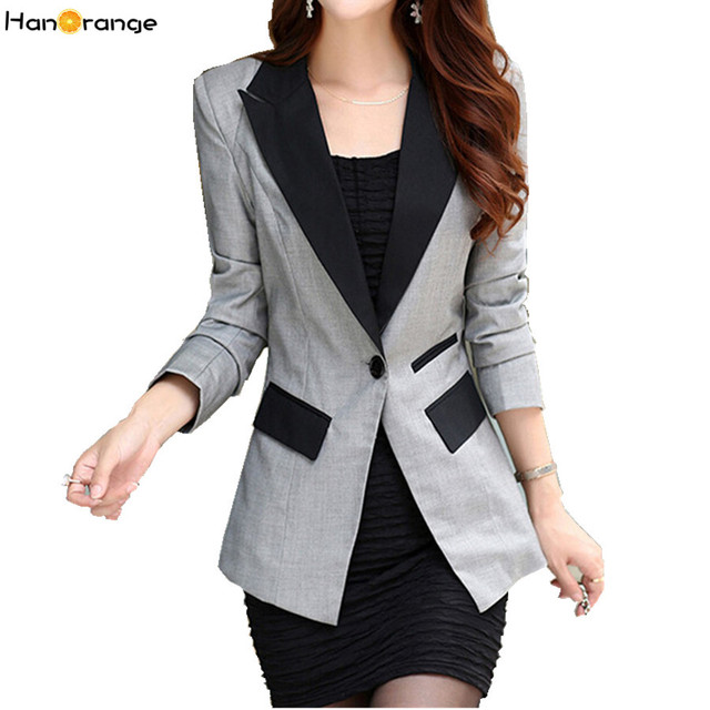 af1f88d17d8 HanOrange Spring Autumn Long Sleeve OL Slim Lapel Blazers for Women Plus  Size Jacket S-XXXL Rose Black Gray Blue Orange