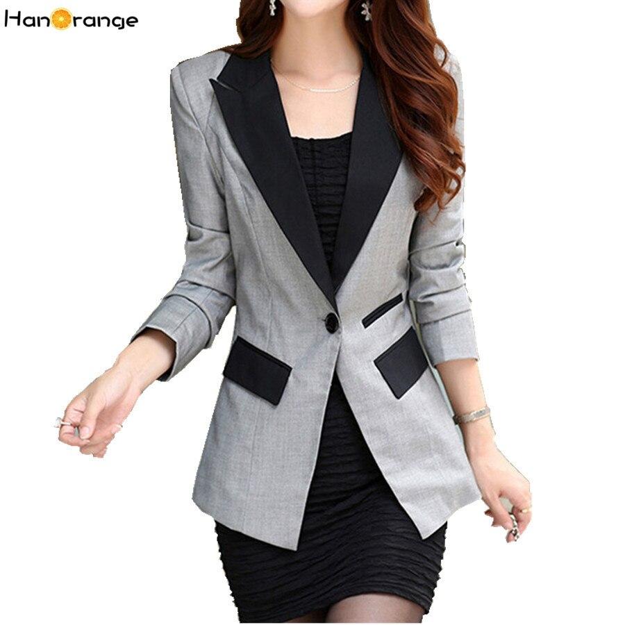 HanOrange Spring Autumn Long Sleeve OL Slim Lapel Blazers for Women Plus Size Jacket S-XXXL Rose/Black/Gray/Blue/Orange