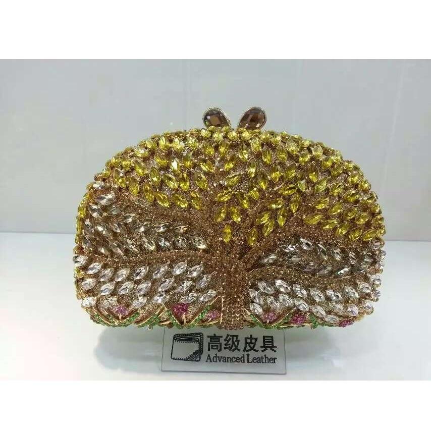 ФОТО TREE color-A Crystal Lady fashion Wedding Bridal hollow Metal Evening purse clutch bag box case handbag