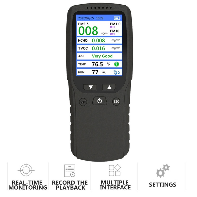 New 8 In 1 PM1.0 PM2.5 PM10 Monitor TVOC Detector Formaldehyde Gas Detector Air Quality Detector Gas Analyzer Humidity MeterNew 8 In 1 PM1.0 PM2.5 PM10 Monitor TVOC Detector Formaldehyde Gas Detector Air Quality Detector Gas Analyzer Humidity Meter