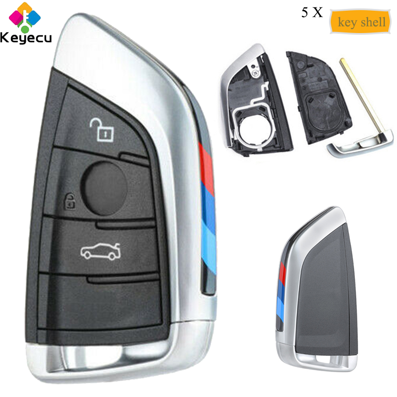 KEYECU 5 PCS/Lot boîtier de remplacement de clé à distance intelligente avec 3 boutons-FOB pour BMW X1 X4 X5 X6 2014 15 16 17 2018 FCC NBGIDGNG1