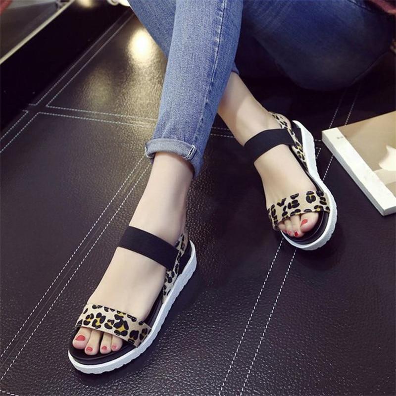 Fond Mujer Bande Chaussures Femmes Élastique Sandales Marron Mode Summer Femme Zapatos 2018 Léopard Flatform Imprimé Épais New ZWgtqfw