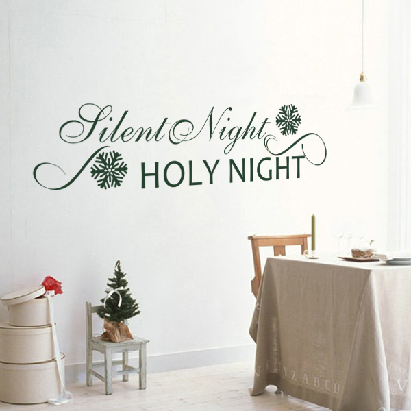 silent night holy night wall decal christmas wall decal holiday decal quote sticker black white - Christmas Wall Decal