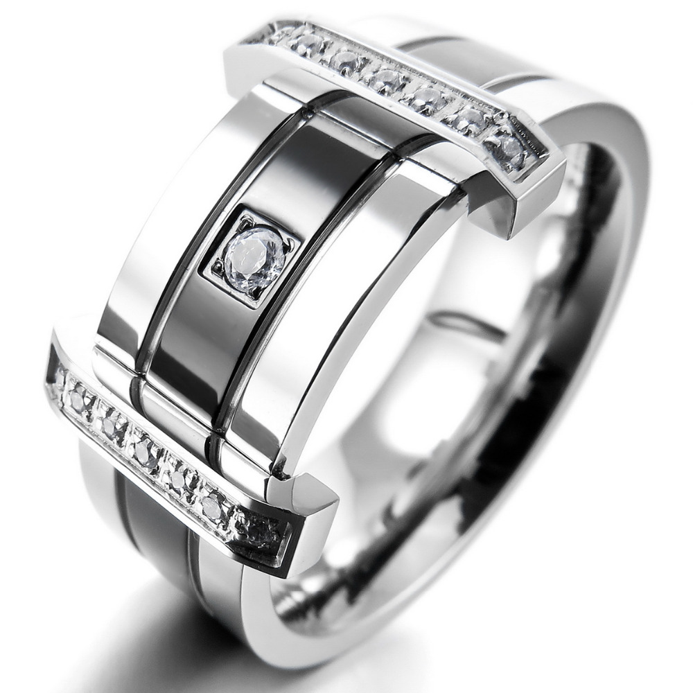 Men s Stainless Steel Rings Band CZ Silver Black Wedding Charm Elegant Free Shipping