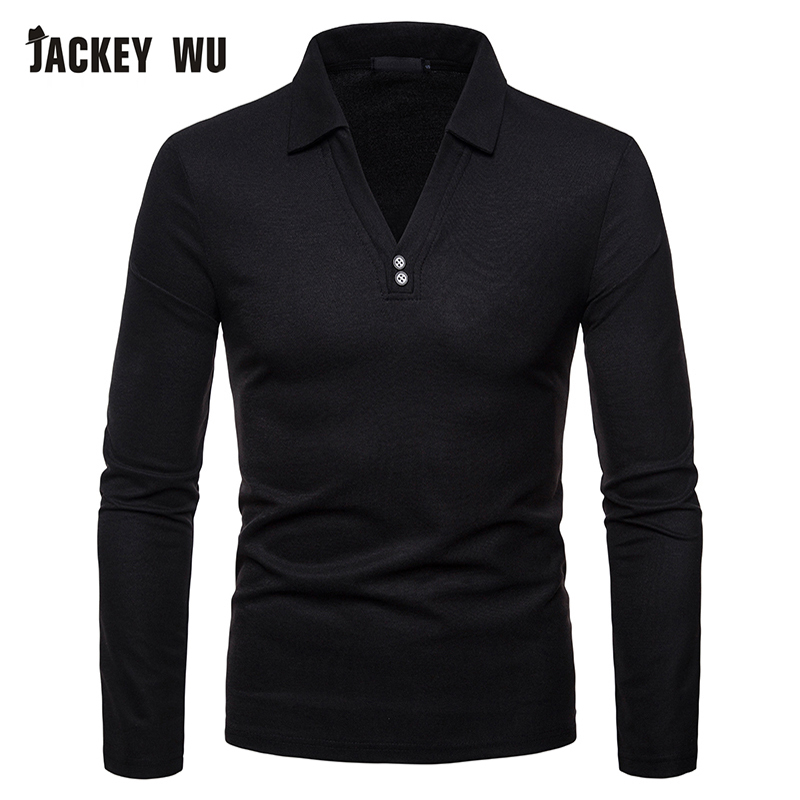 100% QualitäT Jackeywu Polo Shirt Männer 2019 Mode V-kragen Langarm T-stücke Baumwolle Atmungsaktiv Schlanke Männer Polos Schwarz Casual Camisa Polo