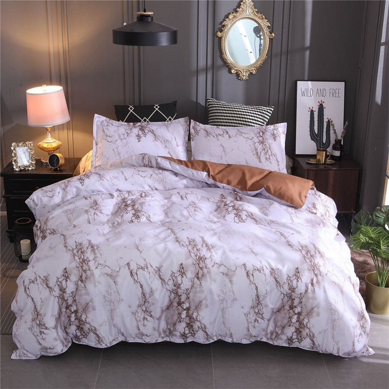 Image 4 - New Bedding Quilt Cover And Pillowcase 3D Printed marble Headfull Size Three pie  great house warming gift modern dreaming stars-in Bedding Sets from Home & Garden