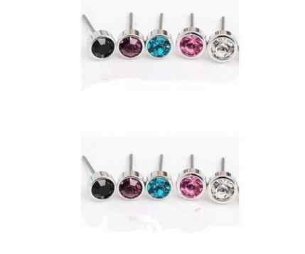 Ed 0218 1 par de pendientes pequeños de aleación de cristal de plata de Nueva inclusión de 2018 Moda Bohemia de 4mm accesorios de joyería femenina de fábrica