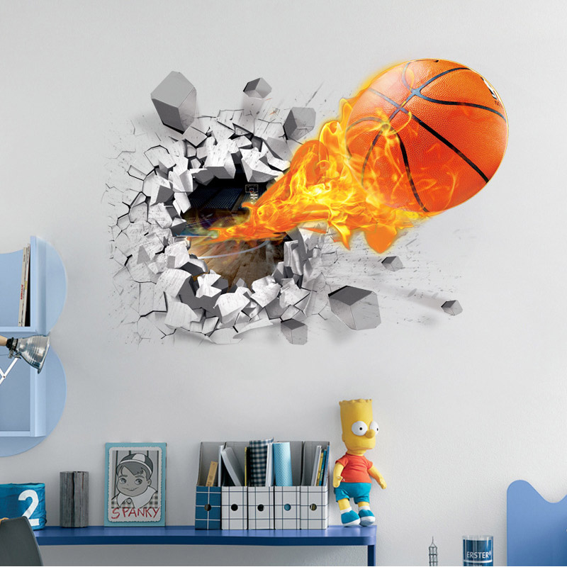 3D Lifelike Broken Wall Basketball Wall Stickers NBA Basketball Decoration DIY Cartoon Kids Room Wall Mural Art Boys Favor