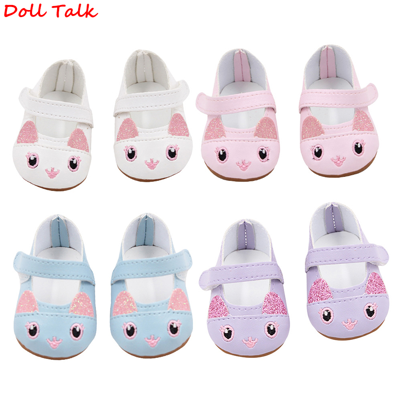 Doll Talk Cute Rabbit Cartoon Doll Shoes 18 Inch 7 Cm American Doll Shoes Leather Mini Toy Shoes Lovely Pink Girl Shoes For Doll