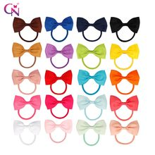 "CN 20 Pcs/lot Hair Accessories 3"" Elastic Hair Band Girls Hairbow Scrunchy Ponytail Holder Gum Hair Rope Cute Hair Accessories(China)"