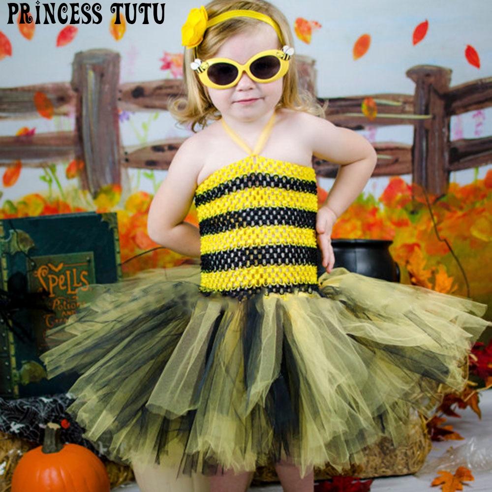 Cute Baby Bee Halloween Costume Yellow Black Little Girl Birthday Party Dress Kids Knee length Crochet Handmade Tutu Dresses kids tiger polyester costume for halloween yellow