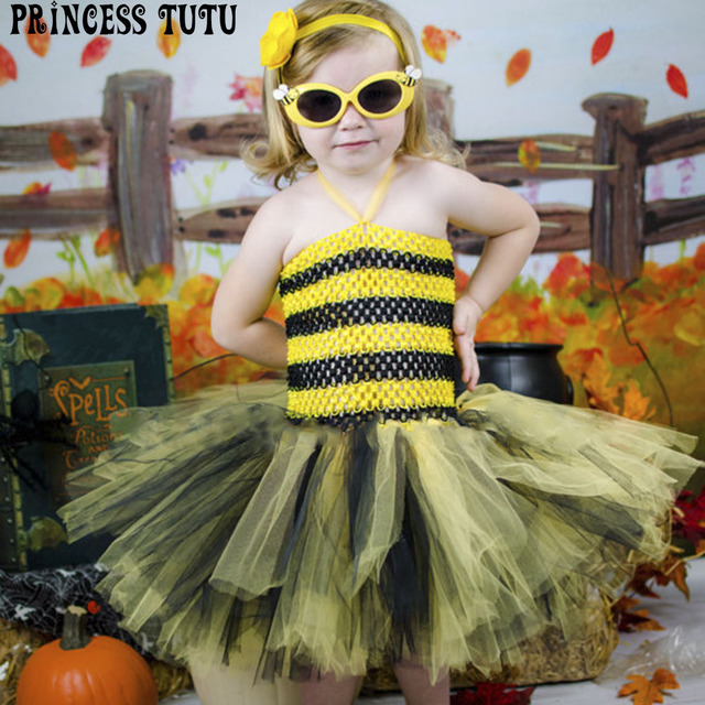Cute Baby Bee Halloween Costume Yellow Black Little Girl Birthday Party Dress Kids Knee length Crochet  sc 1 st  AliExpress.com & Cute Baby Bee Halloween Costume Yellow Black Little Girl Birthday ...