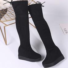 Moxxy udo wysokie kozaki zamszowe platformy buty zimowe kobiety na kolana buty Wedges wysokie obcasy ciepłe futro buty Woman długie buty tanie tanio Dorosłych Krótki pluszowy Gumowe Z Moxxy Dziecięcy zamsz Węzeł motylkowy TTH-655-1 Kliny Sznurowane Z (3cm-5cm) Okrągły palec